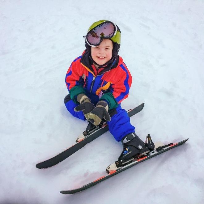 Grant on skis, age 4
